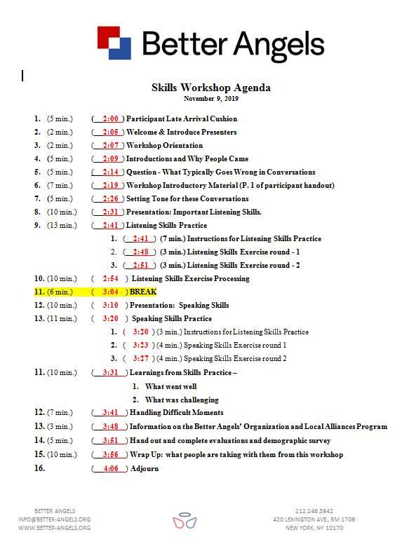 Workshop timeline 11-9-19